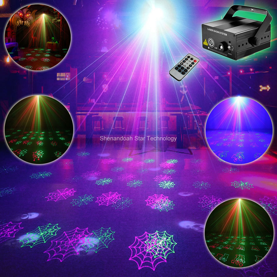 ESHINY Blue Led R&G Laser 12 Halloween Patterns Projector Club Bar DJ Dance Holiday Disco Party Lighting Effect Light Show T106 martin g r r dance with dragons