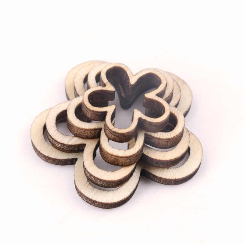 Handmade rzemiosło drewniane akcesoria do dekoracji domu Scrapbookings DIY Mix naturalnie drewniane z dziurką kwiaty gwiazda serce 10-30mm 50 sztuk