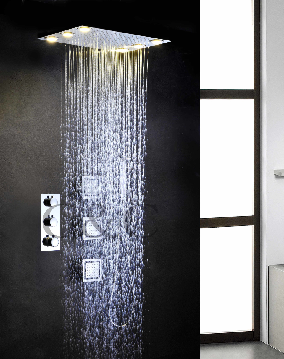 buy alternating current 6 pcs led yellow lamps rainfall shower head set. Black Bedroom Furniture Sets. Home Design Ideas