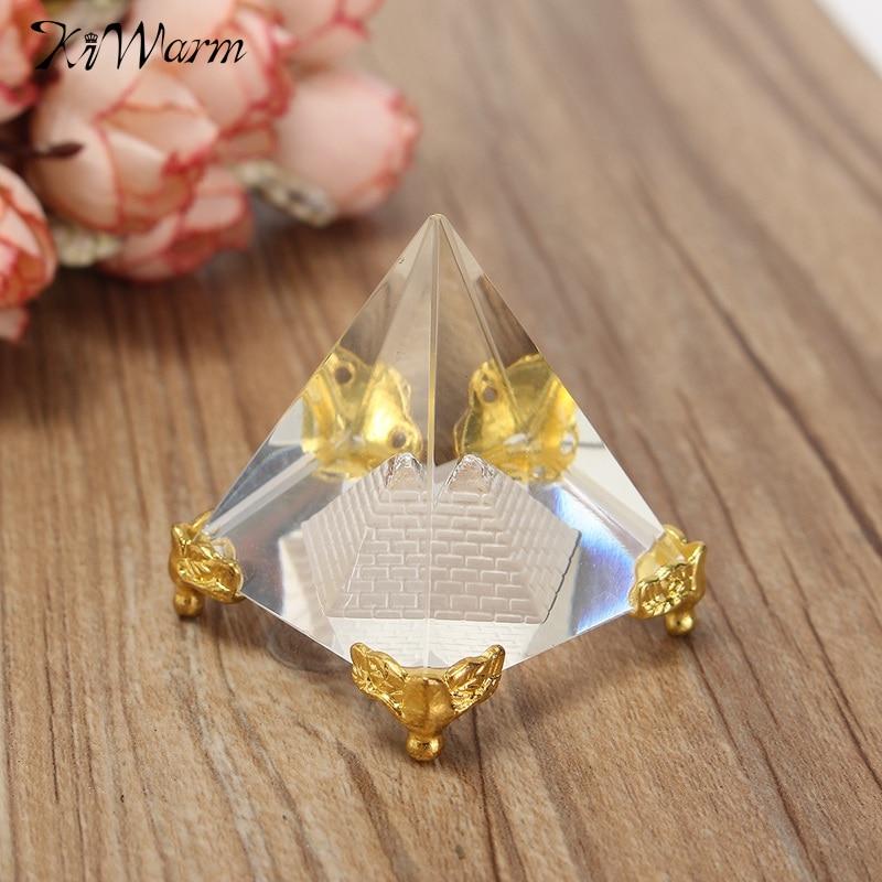 KiWarm divat energia gyógyító kis feng shui egyiptomi egyiptomi kristálytiszta piramis dísz lakberendezés nappali dekoráció