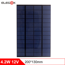 ELEGEEK 4.2W 12V Solar Panel Cell for DIY Polycrystalline PET + EVA Laminated Solar Panel for Experiment Test 200*130*2mm