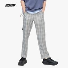 VIISHOW MenPant Plaid  Casual Slim Fit  Homme Classic Vintage Check Suit Trousers Pants Gray Casual Plaid Men KC1345192 casual slim fit zip fly long plaid pants for men