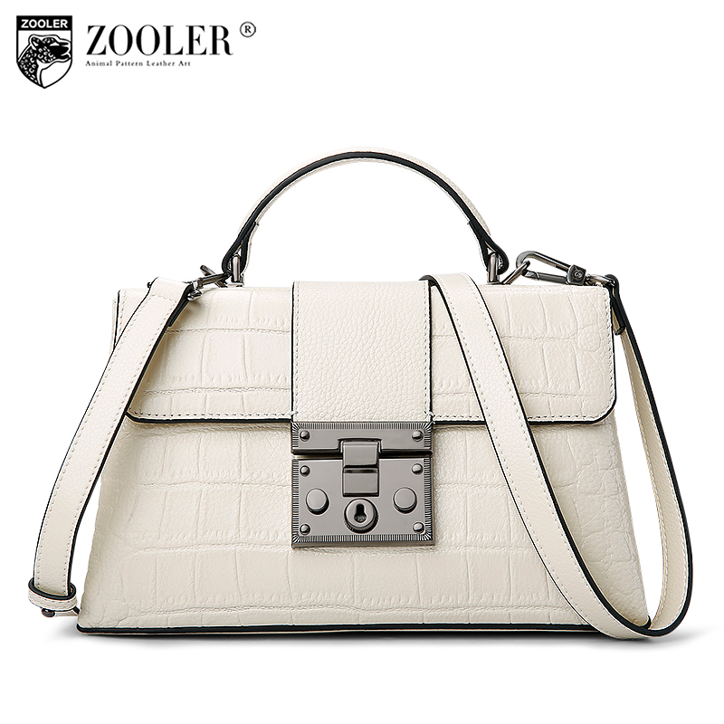 fashion 2018 Zooler Brand women leather shoulder bag alligator pattern top handle genuine leather bag women bag bolsas tote#A109