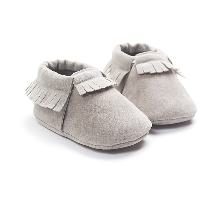 2019 PU Suede Leather Newborn Baby Moccasins Shoes Soft Soled Non-slip Crib First Walker