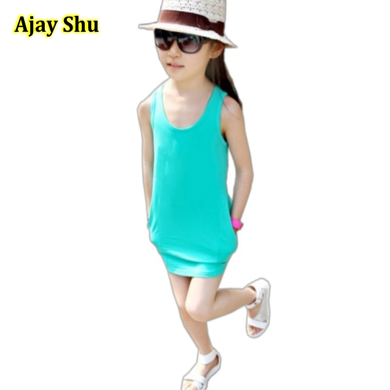 2017 kids baby Vest Dresses For Girls Summer Girls Clothes Fashion Children Clothing Cotton Striped Kids Dress Casual Child summer girls dresses casual children clothing sleeveless striped baby clothes for girls o neck striped brilliant color