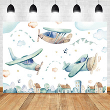 Neoback Photo Background Vintage Airplane Toy Adventure Photography Backdrops Blue Sky White Clouds Booth Backdrop Studio