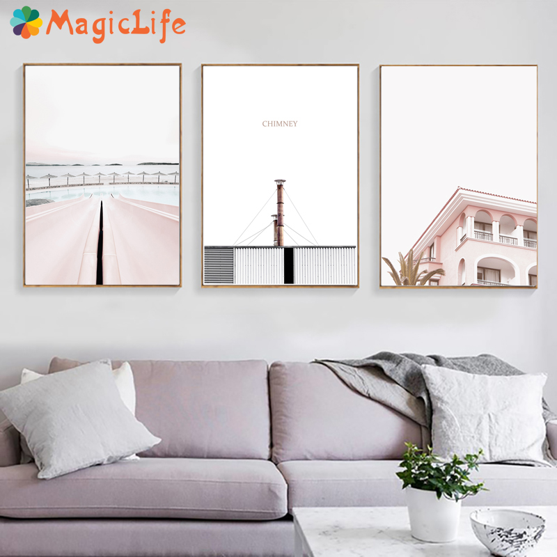Pink Poster Vintage Nordic Posters And Prints Chimney Wall Art Canvas Painting  For Living Room Decoration Unframed-in Painting & Calligraphy from Home & Garden
