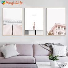핑크 포스터 빈티지 북유럽 포스터와 인쇄 굴뚝 벽 아트 캔버스 회화 거실 장식 Unframed