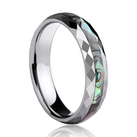 2019 Bohemia Style New Alliance of Tungsten Engagement Rings Dome Band for Woman Man 4mm/5mm Width Inlay Colorful Shells