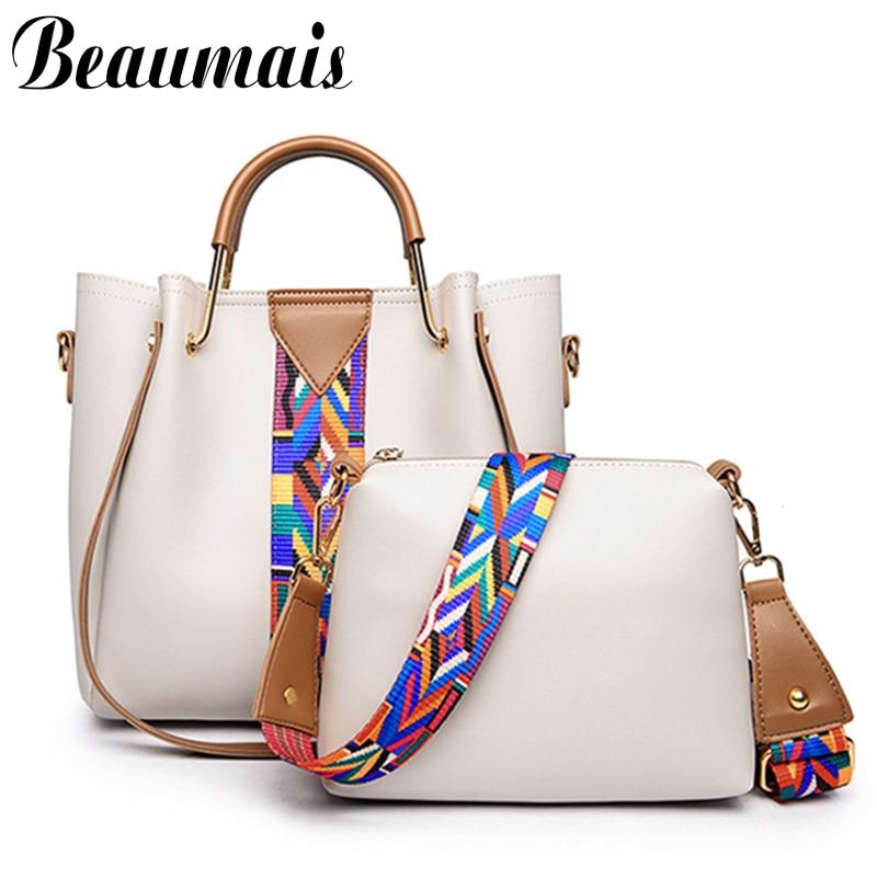 Beaumais Fashion Women Leather <font><b>Handbags</b></font> 2 Pcs/set Bags Women Messenger Bags Shoulder Bags Female Tote Bag bolsa feminina DF0394