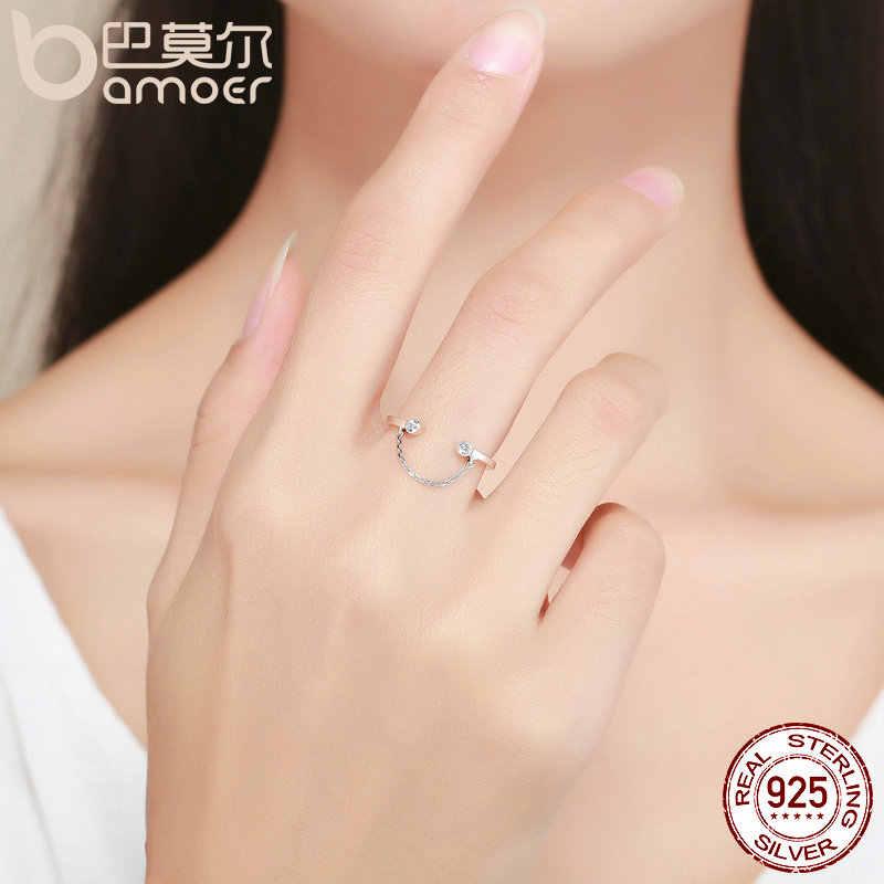 Bamoer 100% Nyata 925 Sterling Silver Rumbai Dapat Disetel Clear CZ Finger Cincin Women Ring Sterling Cincin Perak Perhiasan SCR216