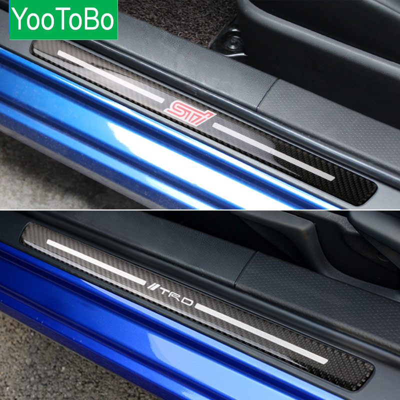 Carbon Fiber Car Door Sill Plate For BRZ STI TOYOTA 86 TRD 2013-2017 2pcs Carbon Fiber Door Sill Plates Emblem Badgs Car Styling for nissan r35 gtr oem carbon fiber outer door handle cover pull surround 2pcs