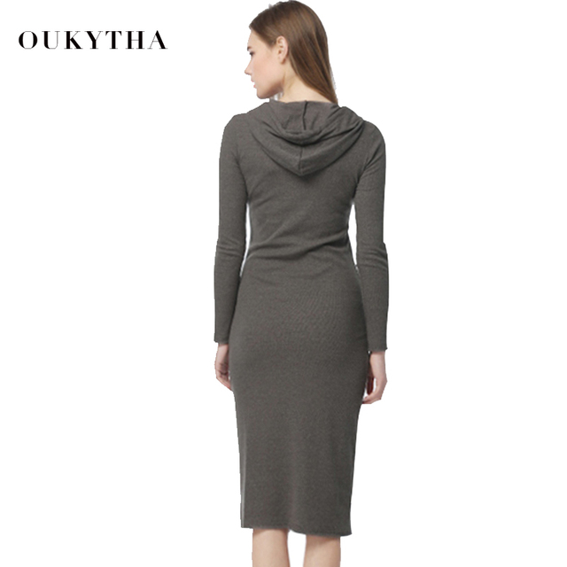 Oukytha 2017 New Autumn&Winter Casual Long A-line Ankle-length Dress Hooded Pockets Cotton Long Sleeves Lady Thick Dress M15322