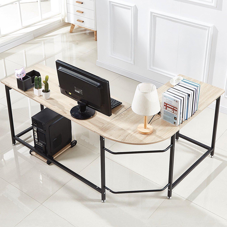 hago modern l shaped desk corner computer desk home office study