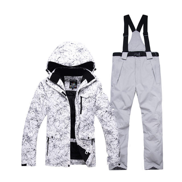 -30 white Adult Ski Clothing Snowboarding sets waterproof windproof  Breathable outdoor Snow suit jacket and ca8d5efd1