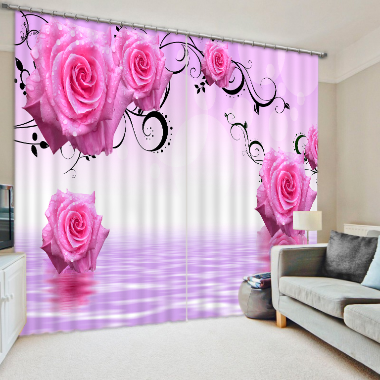 3D Curtain Printing Blockout Polyester Chinese Sun Photo Drapes Fabric For Room Bedroom Window Pink Curtains