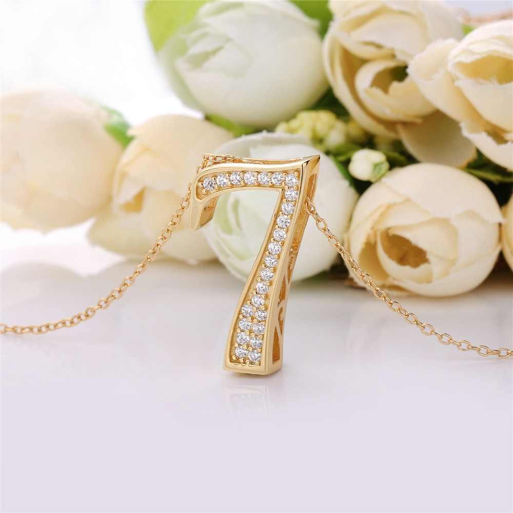 Slovecabin 925 Bijoux en argent Sterling femelle couleur or numéro 9 pendentif japon luxe CZ 0 lettre 7 8 pendentif chaîne collier