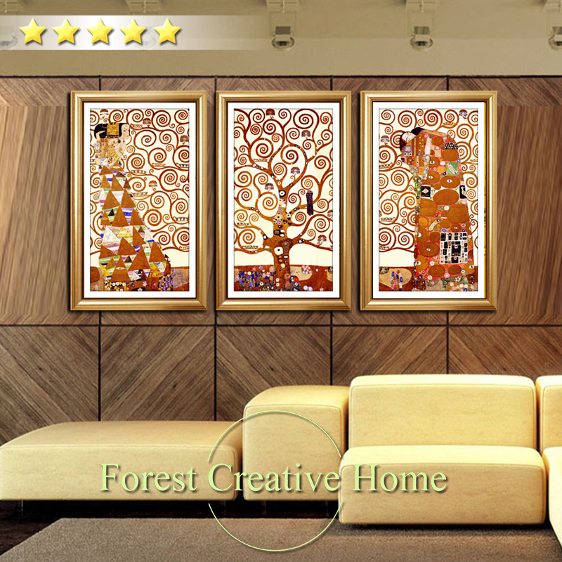 Simple Home Decor: Modern Abstract Art Design Tree Oil Painting Life 3pcs