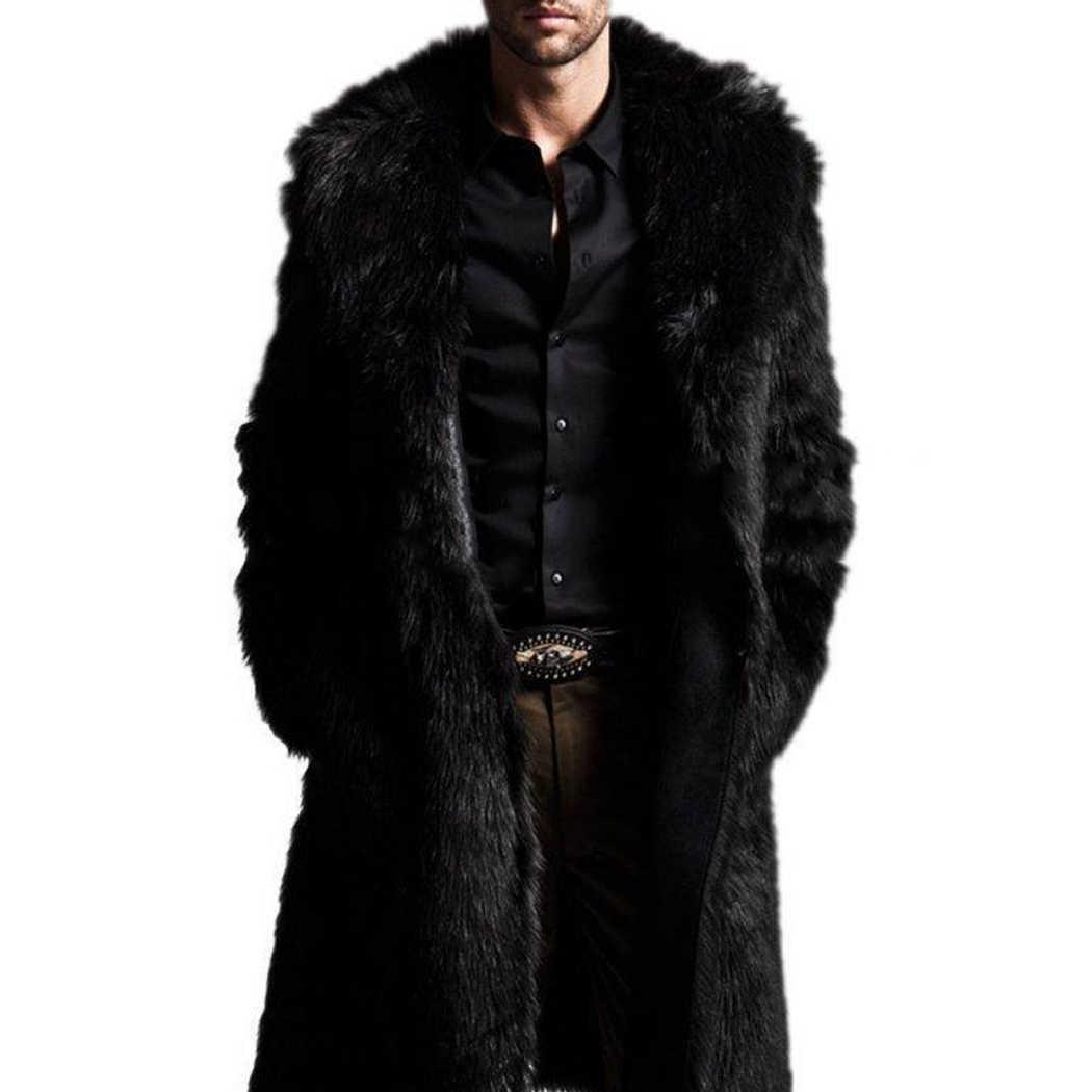 3359889bb4d Модное длинное пальто из искусственного меха мужская зимняя куртка из  искусственного меха с обеих сторон пальто
