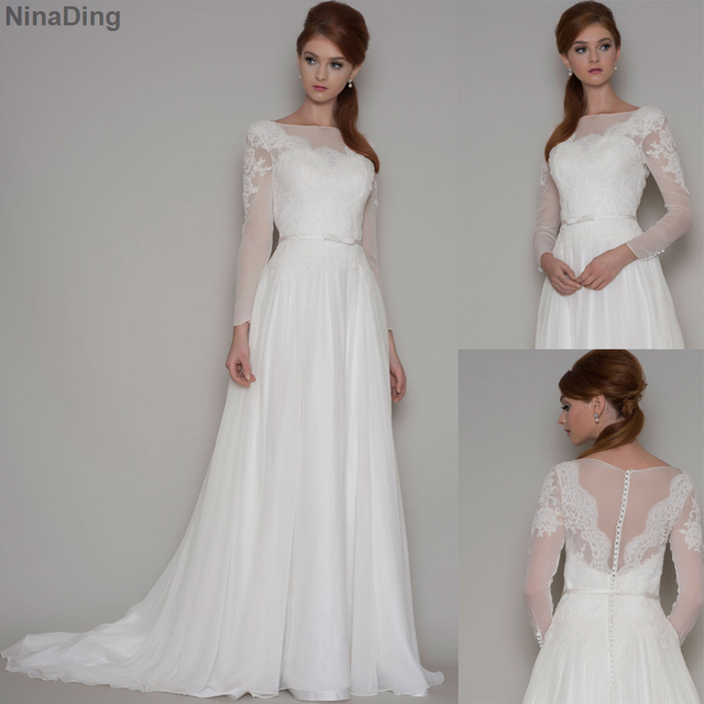 Y Long Sleeve Lace Wedding Dresses Fairy Boat Neck Chiffon White Illusion Gown 2016 Robe