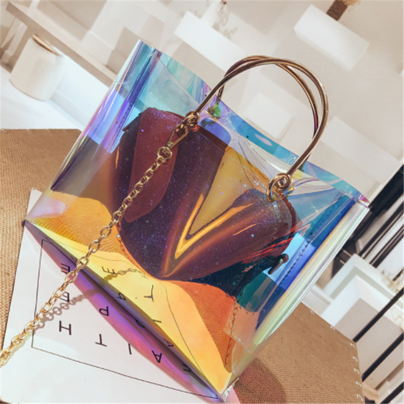 B0174 Summer Transparent Bracelet Composite Bag PVC Plastic Handbag Lady Bag Women Shoulder Bag Woman Crossbody Bag Female