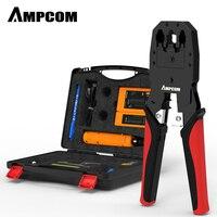 Network Tool Kit, AMPCOM 11 in 1 Professional Portable Ethernet Computer Maintenance LAN Cable Tester Repair Set