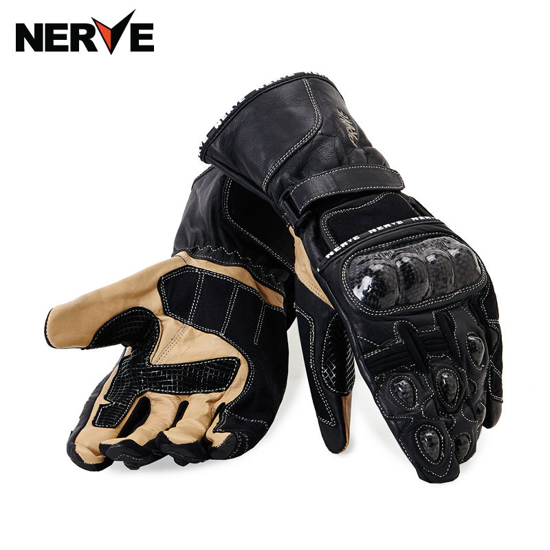 HOW-YES NERVE Retro real carbon Leather Motorcycle Gloves Moto Waterproof Gloves Motorcycle Protective Gears Motocross Glove 100% waterproof authentic germany nerve kq 019 leather motorcycle gloves cross country knight glove winter warm breathable