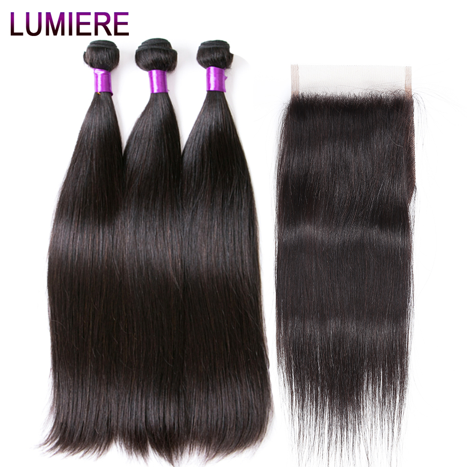 Lumiere Hair Non Remy Peruvian Straight Human Hair Bundles With Closure 3 Bundles Hair Extension With Closure Natural Color