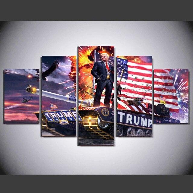 5 Pieces American Donald Trump Poster Modern Home Wall Decor Canvas ...