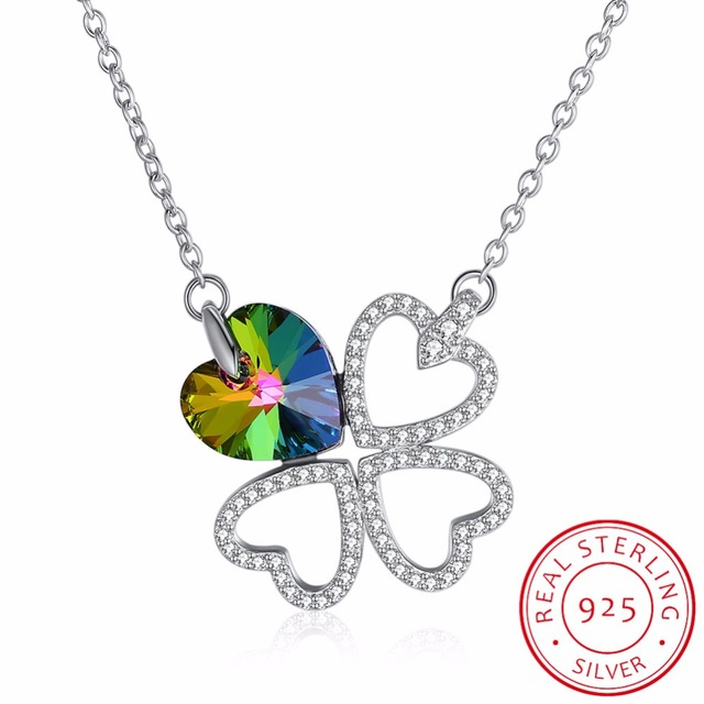 c83a51cd4b511a LEKANI Four Leaf Clover Necklaces Pendant Heart Crystal from Swarovski 925  sterling silver Vintage Fine Jewelry For Women