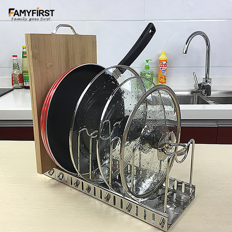 304 Stainless Steel Adjustable Pot Lid Rack Pan Cutting Board Holder Goods Dish Plate Rack Storage Tool For Kitchen Organizer