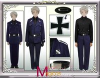 Anime APH Axis Powers Hetalia Prussia Military Uniform Cosplay Halloween Party Costume Custom made