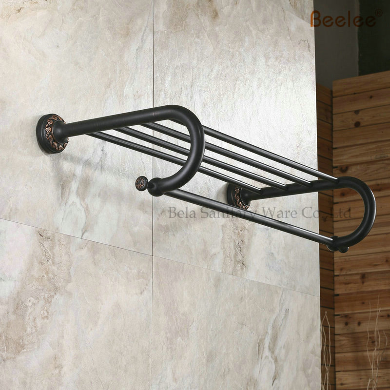 Beelee BL8403B 60CM Brass Wall Mounted Bathroom Towel Rack/Holder/Shelf With Towel Bar Oil Rubbed Bronze Black
