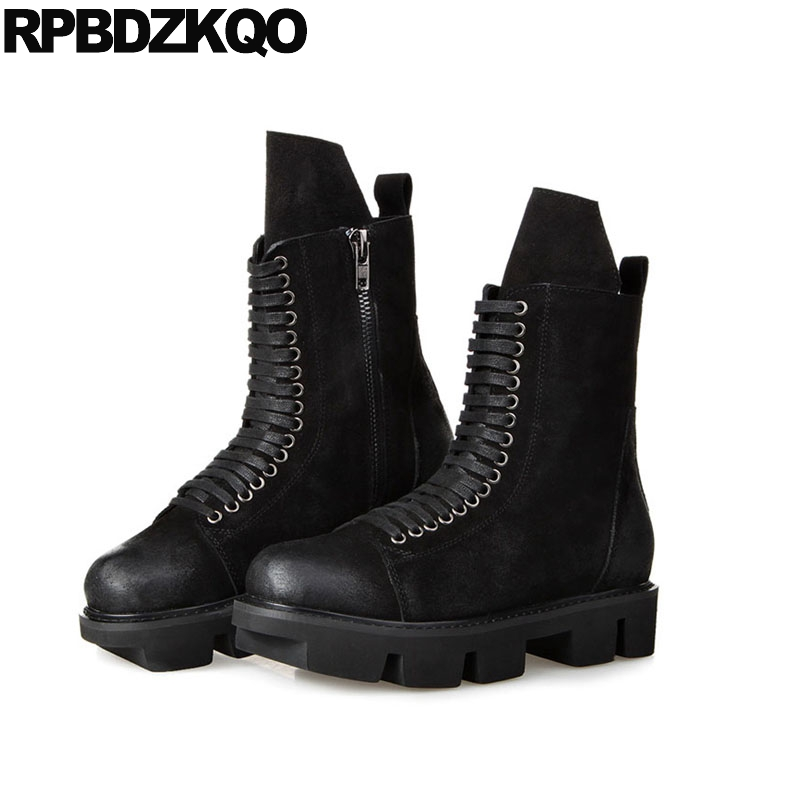 Black Army Outdoor High Sole Thick Soled Combat Mens Winter Boots Warm Harajuku Military Mid Calf Fur Platform Shoes Full Grain mens winter boots warm military mid calf durable army 2017 fashion combat motorcycle high top shoes lace up autumn black male