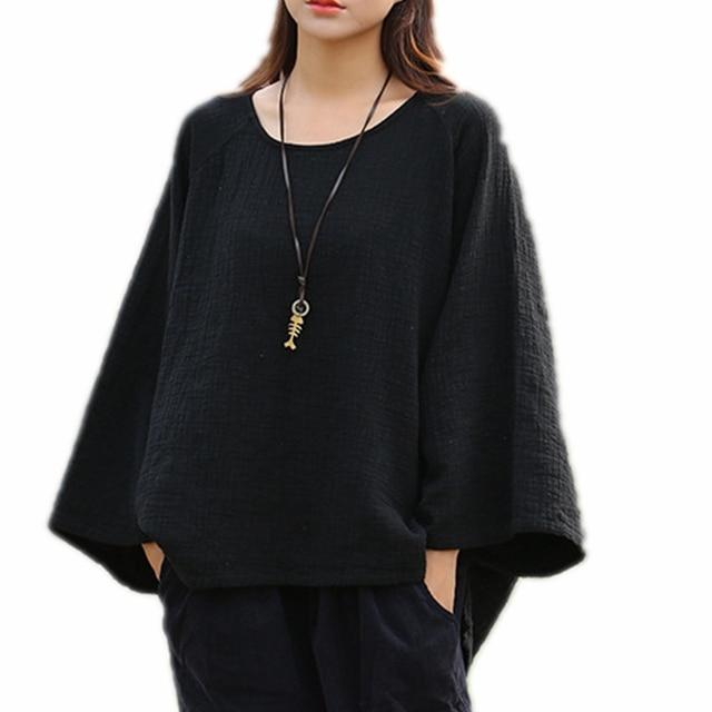 54a87a2fe Long Sleeve Tshirt Women 100% Cotton Plus Size Solid Raglan T-shirt Femme  Comfortable Loose Short Front Long Back Tee Shirt