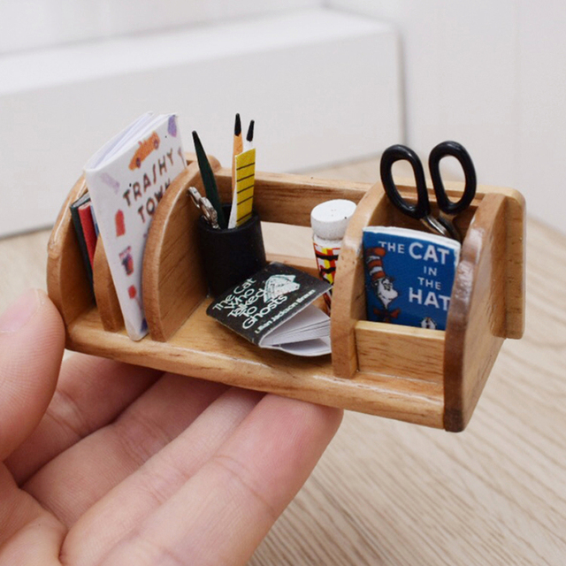 1 12 Miniature Dollhouse Wooden Stationery Book Rack Dollhouse