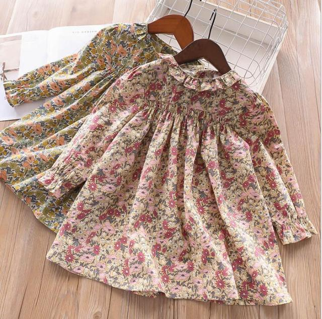 be364a85e 2019 Children Girls Cotton Printed Spring Blouse Dresses