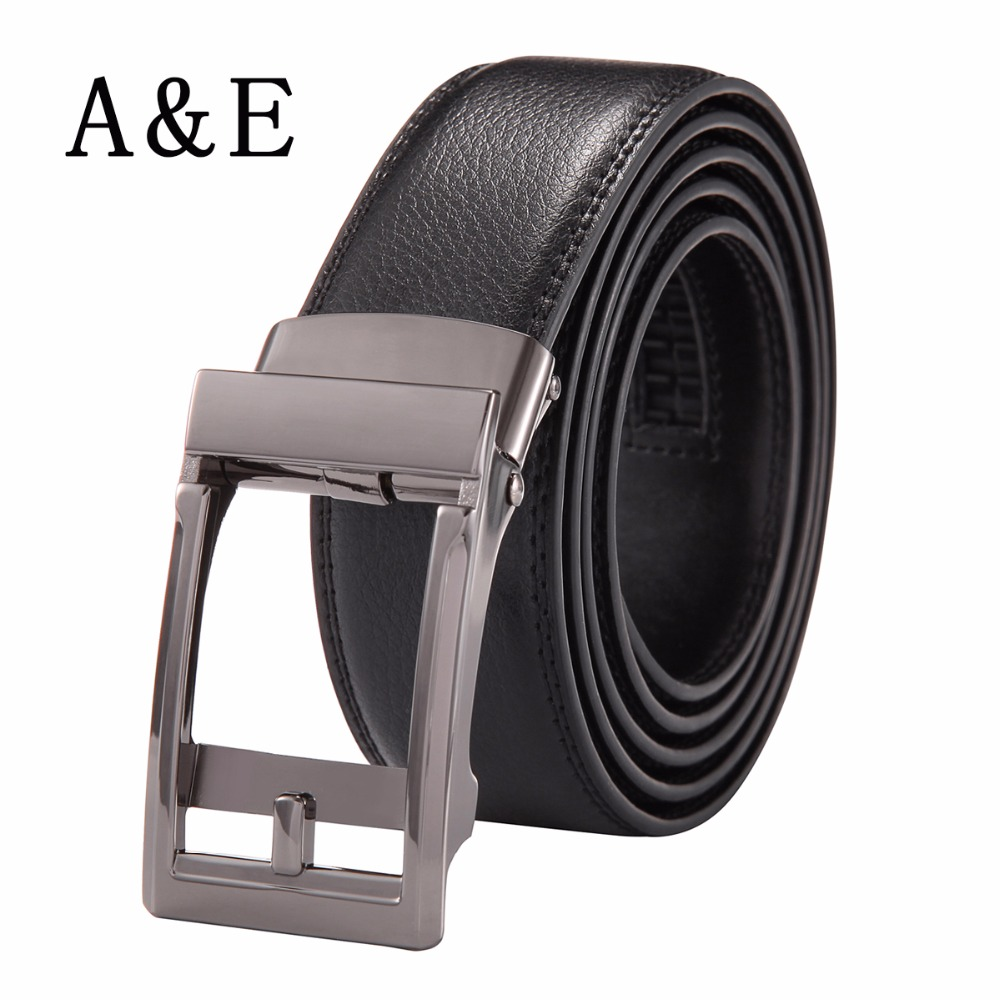 Alice & Elmer Men's Genuine Leather Ratchet Belt With Automatic Buckle Belts For Man Silver