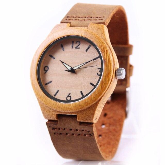Bamboo Wood Watch Women watches ladies clock leather watchband Wristwatch Luxury Brand relogio femininos 2020 Quartz Watch