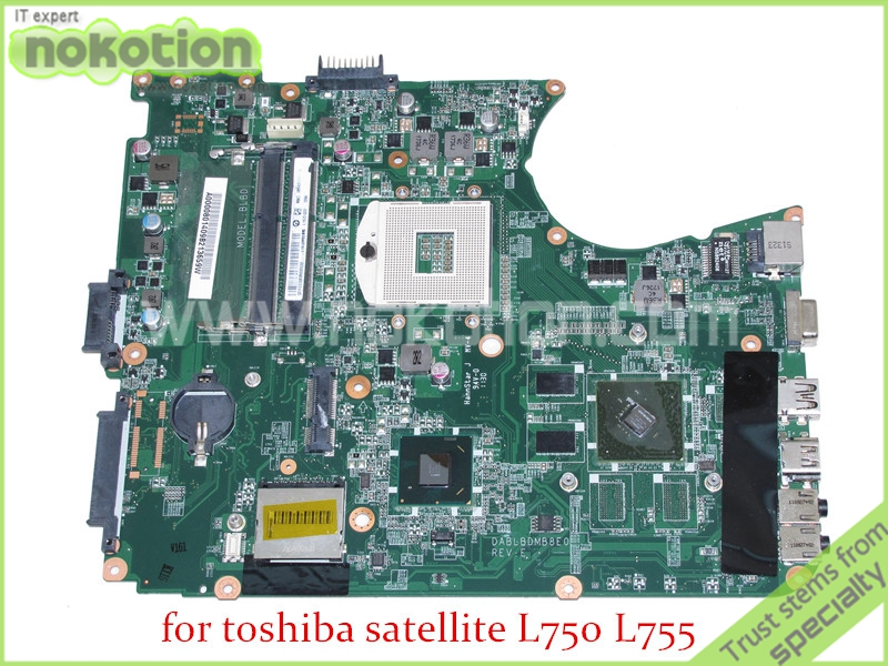 NOKOTION DABLBDMB8E0 A000080140 For toshiba satellite L750 L755 Laptop Motherboard HM65 DDR3 Nvidia graphics nokotion for toshiba satellite laptop motherboard c600 v000238100 6050a2448001 mb a01 hm65 gt315m ddr3