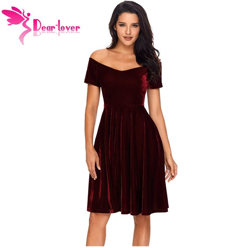 Cher Amant Velours Robes 2018 Sexy Parti Femmes Robes de Festa Off Épaule Bourgogne Plissée Midi Robe Robe Velours LC61861
