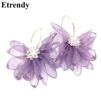 Déclaration coréenne en mousseline de soie fleur grandes boucles d'oreilles pour les femmes nouveau mode bijoux Pendientes accessoires de fête violet rose