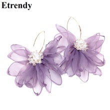 Korean Statement Chiffon Flower Big Earrings For Women New Fashion Jewelry Pendientes Party Accessories Purple Pink