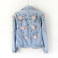 2018 Spring Women Slim Embroidered Three Dimensional Flowers Long Sleeve Denim Jacket Women S Jeans Coat