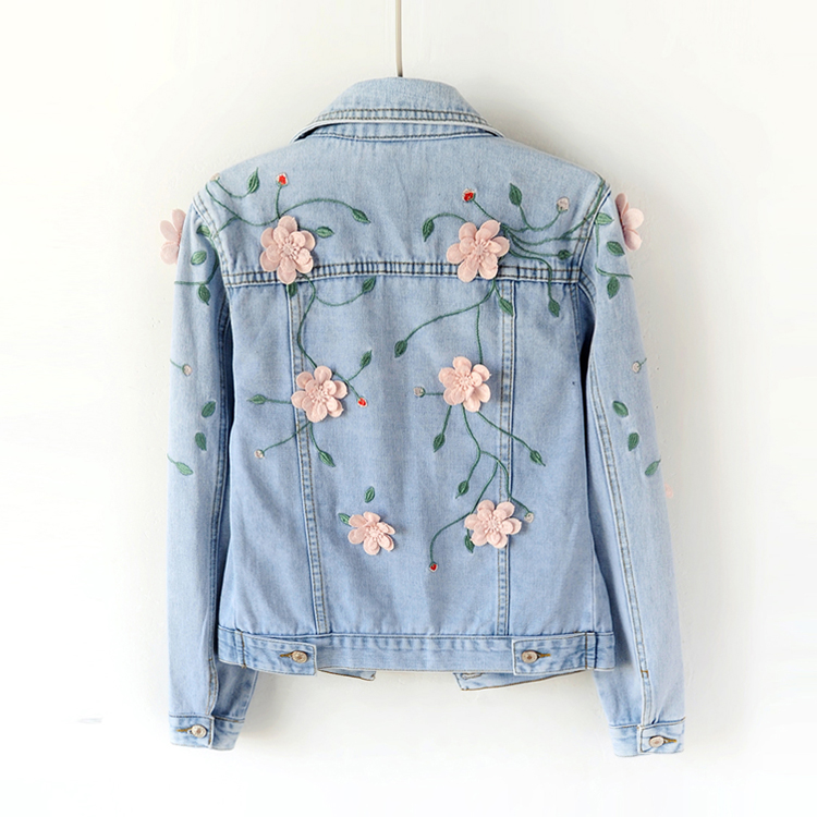 2018 Spring Women Slim Embroidered Three-dimensional Flowers Long Sleeve Denim Jacket Womens Jeans Coat 1666 ...