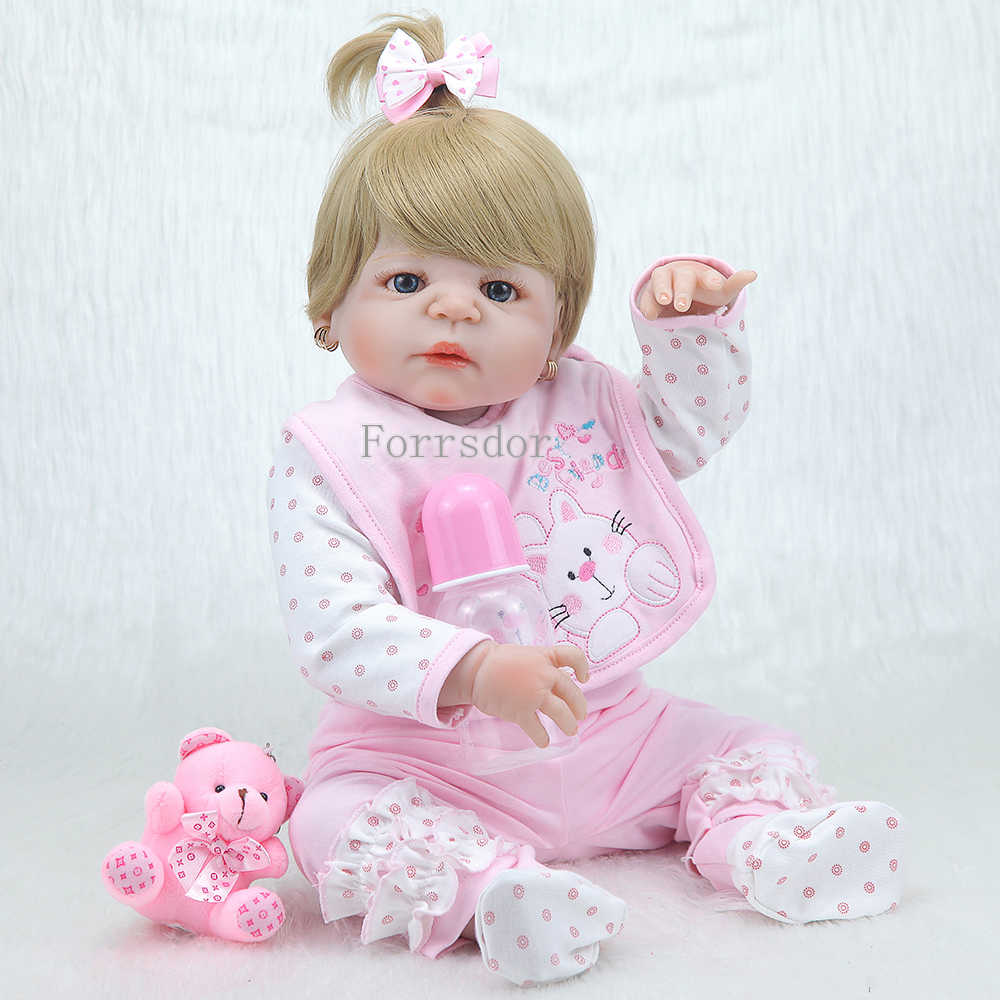 """Новая Кукла reborn baby toys 22 """"настоящий полный Силиконовый reborn dolls парик из каштановых волос игрушки для принцессы подарок для малышей reborn"""