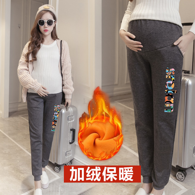 Warm Pants Women Clothing Leggings Maternity Clothes Winter LeggingsThickened With Velvet  Pregnant Women Trousers pregnant pant