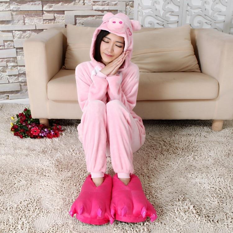 Pink/Black Pig Onesies Pyjamas Cartoon Animal  Costume Pajamas Adult Onesies Sleepwear Halloween