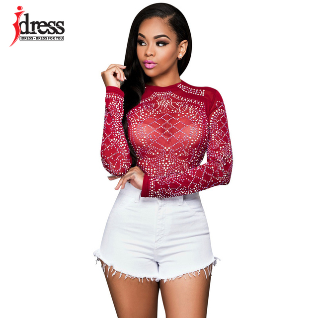 Hambelela Red  Blue  Black Women Long Sleeve Sequin Bodycon Tops Shirt Sexy  Sheer Mesh 590f72eaf12b