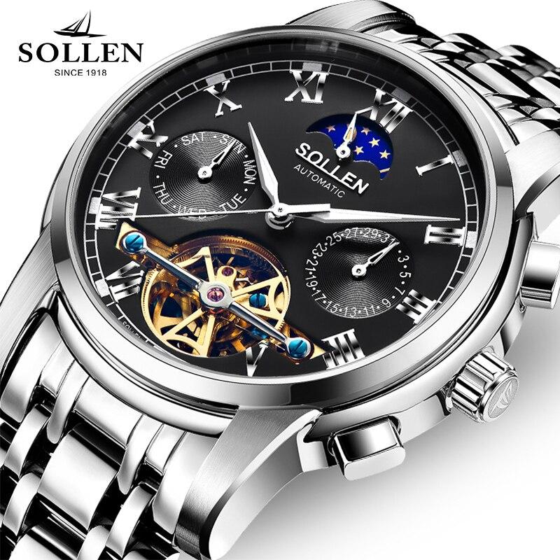 Luxury Brand SOLLEN Mechanical Watch Men Multi-functional Moon Phase Watches Tourbillon Stainless Steel Wristwatch Reloj Hombre